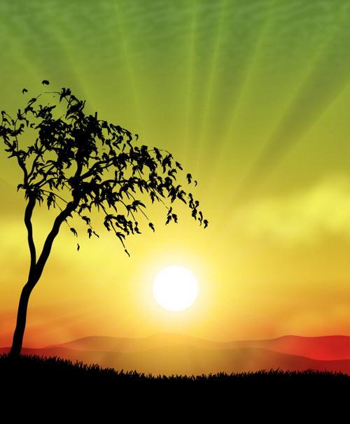 树与山峦剪影 :装饰画素材网 datuku.net 最新潮的无